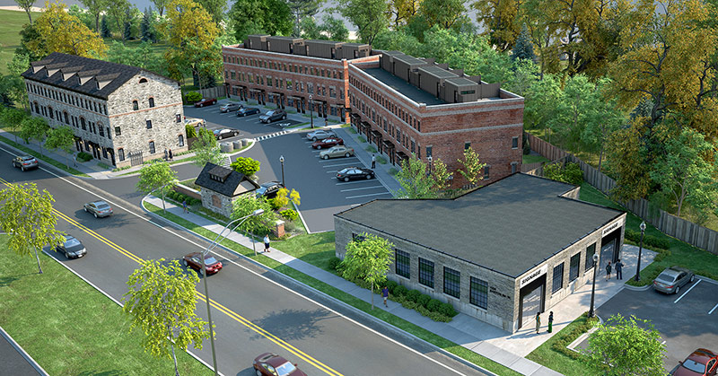 Architect Rendering 1 - bird's eye view of the Livingston and the commercial building