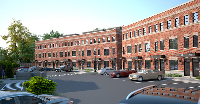 Architect Rendering 3 - parking lot at front of the Livingston