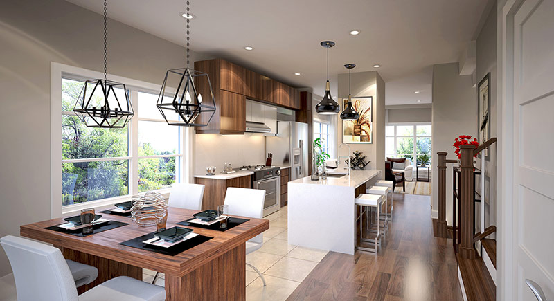 Ivy on Plains living space - kitchen, dining with view to living room - rendering 6