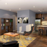 Ivy on Plains living space with kitchen area - rendering 7