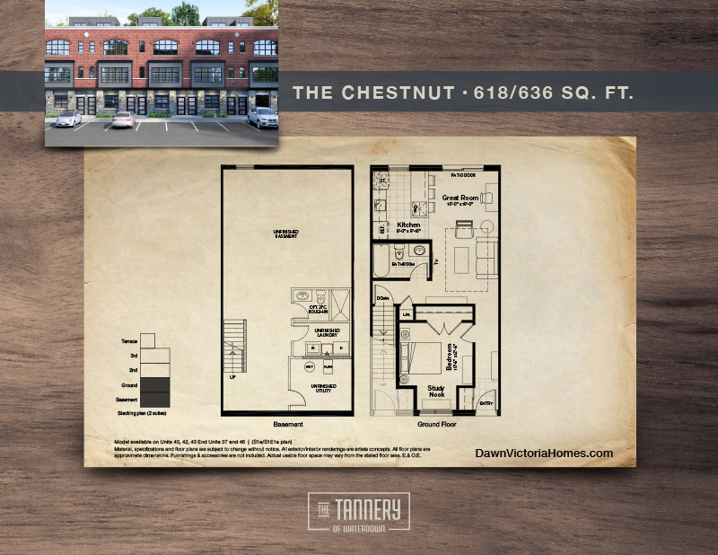 The Chestnut floorplan with inset image of rendering