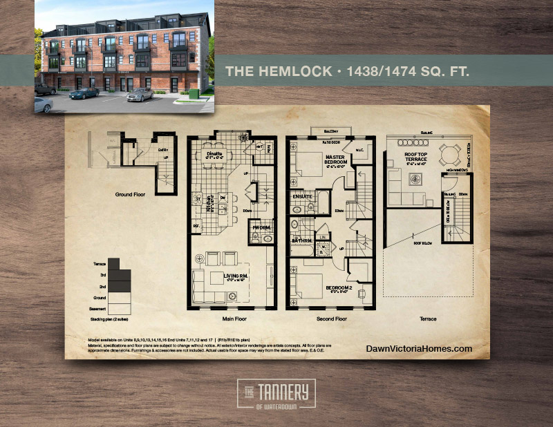 The Hemlock floorplan with inset image of rendering