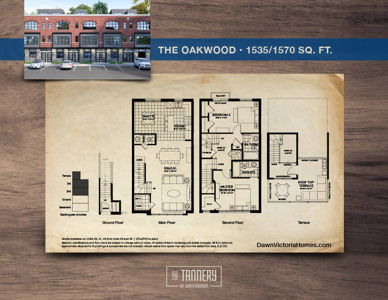 The Oakwood floorplan with inset image of rendering