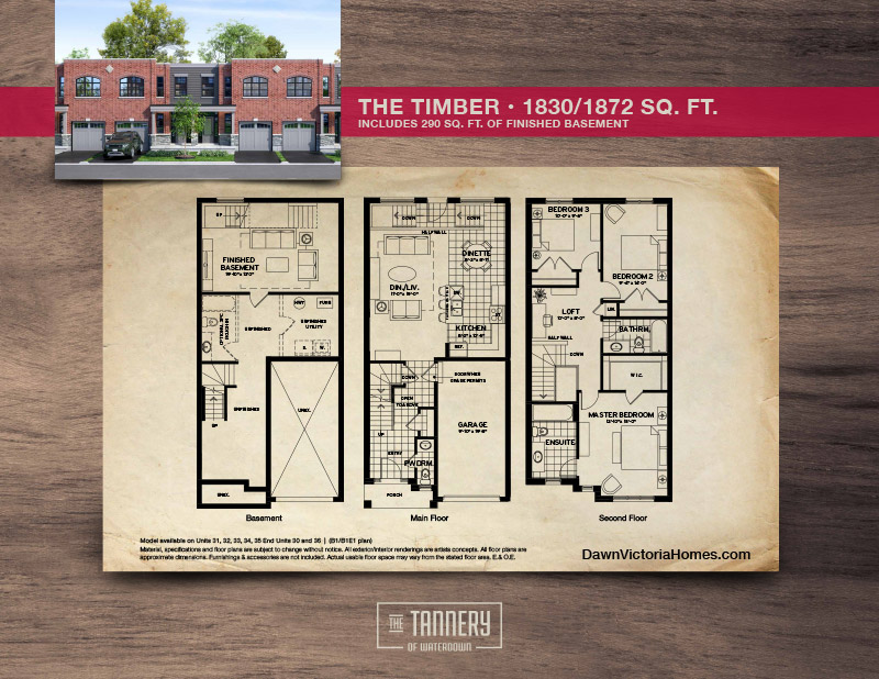 The Timber floorplan with inset image of rendering