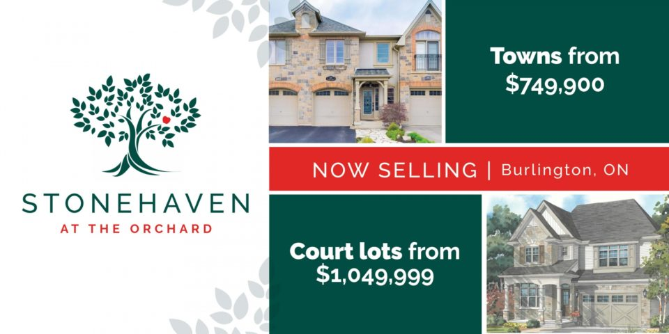 Stonehaven at the Orchard - now selling Towns and Court lots in Burlington from $749,000 to 1,049,999